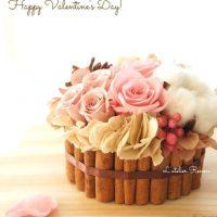バレンタインにも。チョコタルト風アレンジメントがカワイイ♪